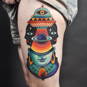 Psychedelic tattoo by Winston the Whale #WinstontheWhale #GoodStuffTattoo #tattooart #fineart #newschooltattoo #traditionaltattoo #colortattoo #psychedelic #folkart #popart #vishnu #shiva #eye #surreal