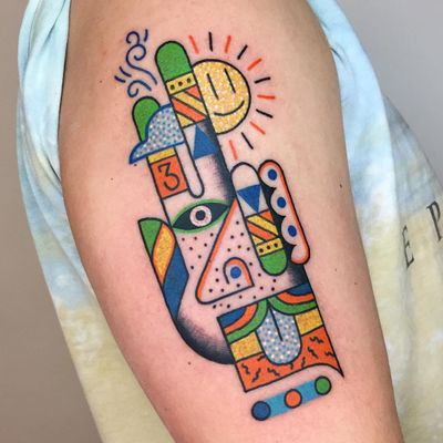 Psychedelic tattoo by Winston the Whale #WinstontheWhale #GoodStuffTattoo #tattooart #fineart #newschooltattoo #traditionaltattoo #colortattoo #psychedelic #folkart #popart #hand #sun #eye