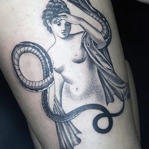 Close up lady and her snake