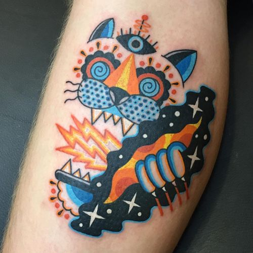 Psychedelic tattoo by Winston the Whale #WinstontheWhale #GoodStuffTattoo #tattooart #fineart #newschooltattoo #traditionaltattoo #colortattoo #psychedelic #folkart #popart #cat #stars #eye