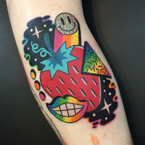 Psychedelic tattoo by Winston the Whale #WinstontheWhale #GoodStuffTattoo #tattooart #fineart #newschooltattoo #traditionaltattoo #colortattoo #psychedelic #folkart #popart #smile #strawberry