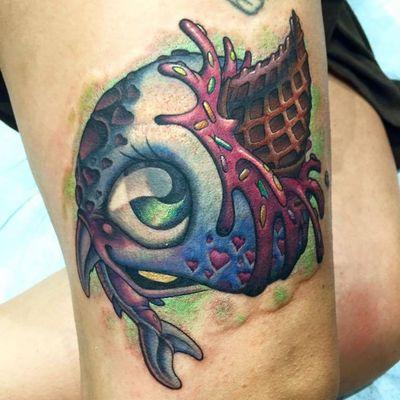 Fish tattoo by Jesse Smith #JesseSmith #newschool #creature #fish #icecream