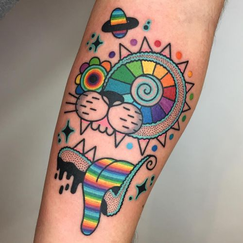 Psychedelic tattoo by Winston the Whale #WinstontheWhale #GoodStuffTattoo #tattooart #fineart #newschooltattoo #traditionaltattoo #colortattoo #psychedelic #folkart #popart #cat #rainbow