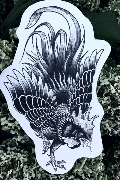 #roostertattoo #rooster #neotraditional #blackwork