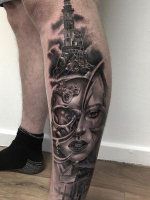 Water lady #sleeve #tattoo #tattoosleeve #ink #blackandgrey #realism #portrait #killerink #ink #instaink #colourrealism