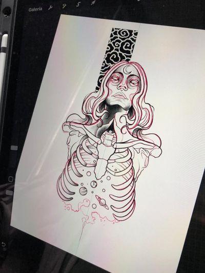 #tattooart #zombie #zombiegirl #universe #espace #esqueleto #luna #moontattoo #mujer #espalda #color #acuarela #ink #inklove #dead #girl