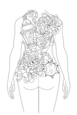 #backpiece #flowers #chrysanthemumtattoo #chrysanthemum #neotraditionaltattoo
