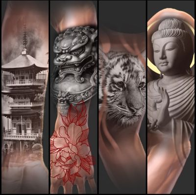 Sleeve concept availabe. #japanese #japanesetattoo #buddha #foodog #tiger #sleeve #Flash #tattooartist