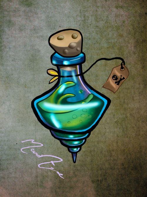 #neotraditional #sketch #colortattoo #witchtattoo #bottletattoo #poison