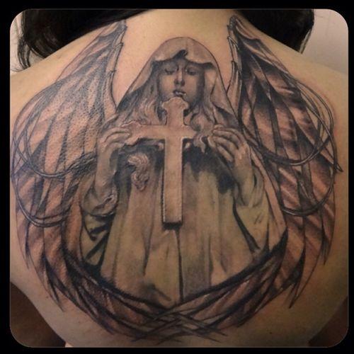 #realism #realistic #staglieno #cemetery #genova #blackandgrey #angel #cross #wings #blames