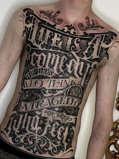 Torso tattoo by Sam Taylor #SamTaylor #letteringtattoos #lettering #text #font #type #calligraphy #script #letters #quotes #words