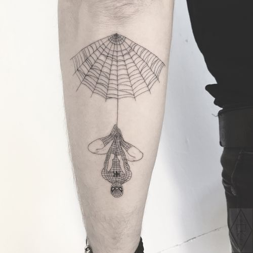 Fineline Spiderman tattoo by Emma Kristin #EmmaKristin