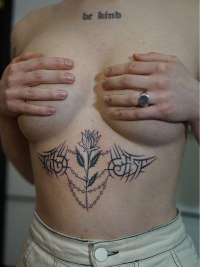 Non electric Hand poke tattoo by Blame Max #BlameMax #handpoke #stickandpoke #nonelectric #linework #illustrative #fineline #flower #rose #tribal #chain