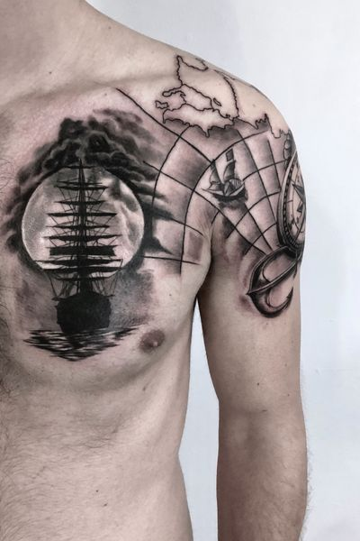 please comment ıt and let me know what you thınk thanks. #coveruptattoo #chesttattoo #sailor #ship #map #compass #blackandgrey