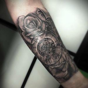 Old pocket watch & rose