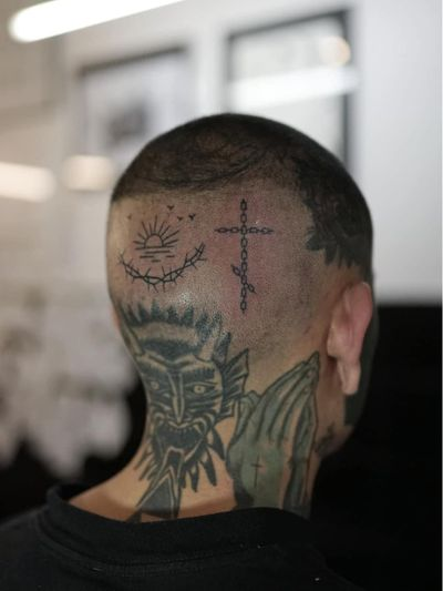 Non electric Hand poke tattoo by Blame Max #BlameMax #handpoke #stickandpoke #nonelectric #linework #illustrative #fineline #sun #thorns #chain #cross #birds #scalp