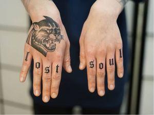 Non electric Hand poke tattoo by Blame Max #BlameMax #handpoke #stickandpoke #nonelectric #linework #illustrative #fineline #lettering #handtattoo #fingertattoo