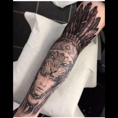 Instagram - amandaleetattoo #tiger #tigertattoo #sleeve #sleevetattoo #blackandgrey #indian #indiantattoo #portrait #portraittattoo #headdress #headdresstattoo #blackandgreytattoo #realism #animaltattoo #glasgow #glasgowartist # glasgowtattooartist