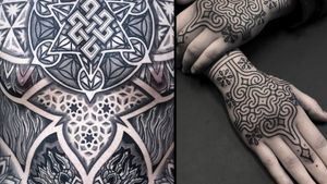 Tattoo on the left by Aries Rhysing and tattoo on the right by Clinton Lee #ClintonLee #AriesRhysing #geometrictattoos #geometric #sacredgeometry #sacredgeometrytattoo #pattern #line #linework #shapes #ornamental #dotwork