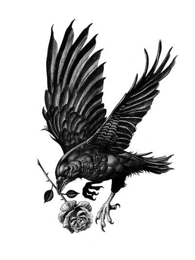 Available flash. #blackwork #dotwork #blackandgrey #crow #bird #rose #illson