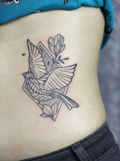 #swallow #flowertattoo #ribtattoos #ornamentaltattoo #dotwork #lineworktattoo #indiantraditional #tattoosinindia #ironbuzztattoos #geometry #traditional #customtattoo