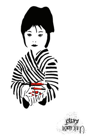 Chinese girl blackwork fineline red and black