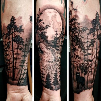 Start of an awesome forearm piece..few hours left #wolf #forest #moon #howling