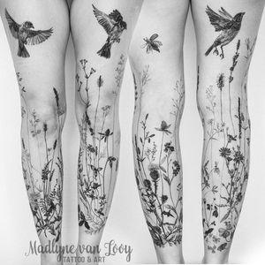 Leg sleeve tattoo by Madlyne van Looy #MadlynevanLooy #EarthDaytattoos #EarthDay #Earthtattoo #landscapetattoo #earth #planet #landscape #land #nature #illustrative #flowers #floral #bird