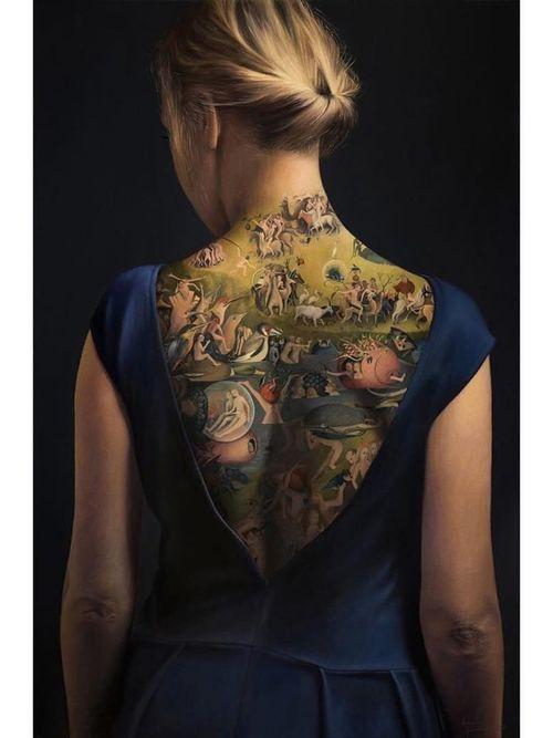 Tattoo painting portrait by Agnieszka Nienartowicz #AgnieszkaNienartowicz #tattoopainting #tattooart #fineart #portraittattoo #paintingtattoo #paintingreproduction