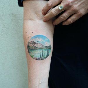 Landscape tattoo by Eva Krbdk #EvaKrbdk #EarthDaytattoos #EarthDay #Earthtattoo #landscapetattoo #earth #planet #landscape #land #nature #realism #hyperrealism #realistic #mountain #lake #forest
