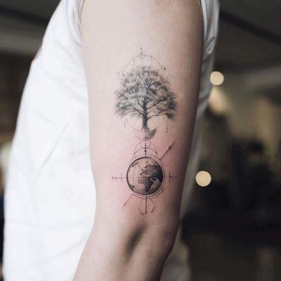 Earth and tree tattoo by Nando #Nando #EarthDaytattoos #EarthDay #Earthtattoo #landscapetattoo #earth #planet #landscape #land #nature #illustrative #blackandgrey #tree