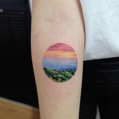 Landscape tattoo by Hakan Adik #HakanAdik #EarthDaytattoos #EarthDay #Earthtattoo #landscapetattoo #earth #planet #landscape #land #nature #sunset #trees #forest #mountains #sky