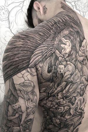 #lesscrowtattoo #blackworktattoo #engravingtattoo #art #tattooart