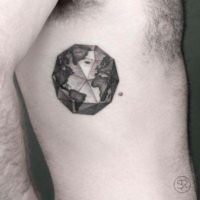 Geometric Earth tattoo by Sven Rayen #SvenRayen #EarthDaytattoos #EarthDay #Earthtattoo #landscapetattoo #earth #planet #landscape #land #nature #geometric
