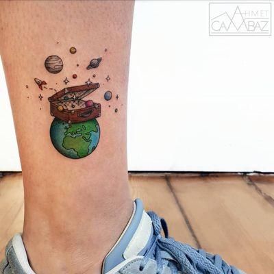Earth tattoo by Ahmet Cambaz #AhmetCambaz #EarthDaytattoos #EarthDay #Earthtattoo #landscapetattoo #earth #planet #landscape #land #nature #travel #suitcase #saturn #stars #illustrative