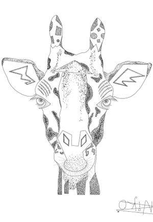 ornamental giraffe dotwork fine line
