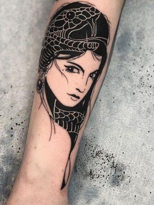 Bold tattoo by Kyle Stacher aka Thief Hands #KyleStacher #ThiefHands #illustrative #linework #blackwork #ladyhead #lady #snake