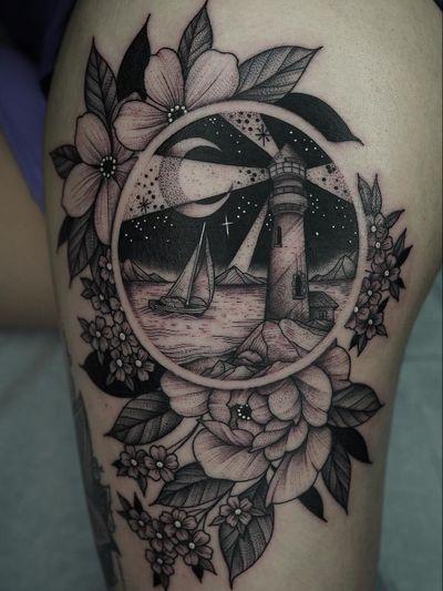 Nature tattoo by Kyle Stacher aka Thief Hands #KyleStacher #ThiefHands #illustrative #linework #nature #organic #fineline #dotwork #flower #floral #leaves #lighthouse #ship #moon #stars