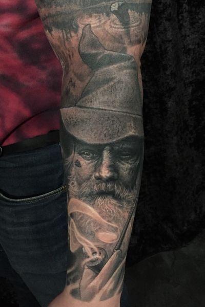 Odin, All-Father. #norse #norsemythology #odin #realism #blackandgrey #fineart #hyperrealism #asatru #portrait #portraittattoo #texture