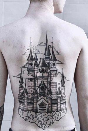 #backpiece #back #castle #castleinthesky #clouds