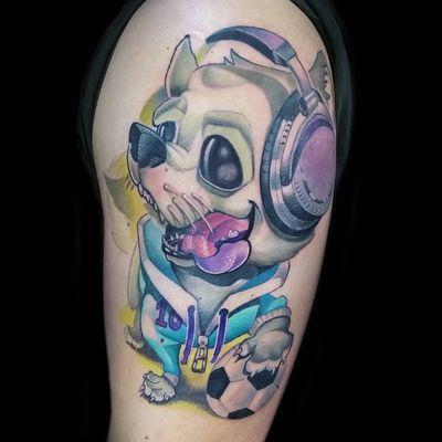 📧veronikaliddelltattoo@gmail.com ☎️ 603664707 #dog #newschooldog #perro #futbol #football #dj #color #colortattoo #newschool #veronikaliddell #madrid #madridtattoo