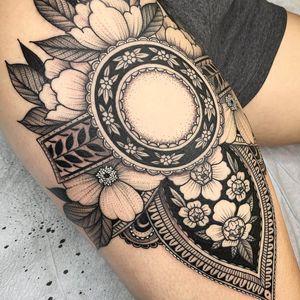 Nature tattoo by Kyle Stacher aka Thief Hands #KyleStacher #ThiefHands #illustrative #linework #nature #organic #fineline #dotwork #flower #leaves #pattern #Ornamental