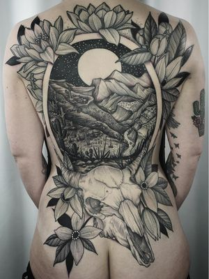 Back tattoo by Kyle Stacher aka Thief Hands #KyleStacher #ThiefHands #backtattoo #backpiece #illustrative #linework #nature #organic #fineline #dotwork #flowers #floral #leaves #mountains #landscape #skull #moon #stars