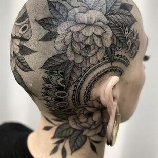Nature tattoo by Kyle Stacher aka Thief Hands #KyleStacher #ThiefHands #illustrative #linework #nature #organic #fineline #dotwork #flowers #floral #leaves #mandala #pattern
