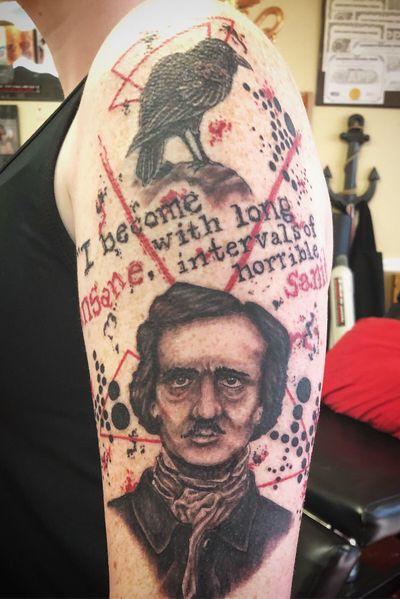 Edgar Allen Poe inspired trash polka! #EdgarAllanPoe #trashpolkatattoo #typewriterfont #staugustinetattooartist