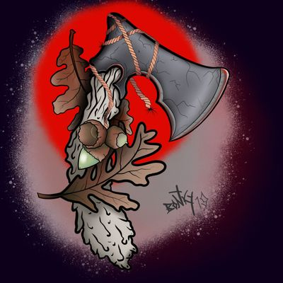 #axe #acorns #oak #woodgrain #rope #medieval #leaves #tattoo #design