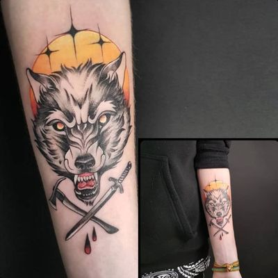 We had a lot of fun making this one. Thanks @ioni_weitzman Inked by the very talented @croco_juice for more info and to schedule appointment please PM us or call 09-7421677 Or just book yourself at https://yoman.co.il/KoiTattoo #wolf #patch #colortattoo #color #art #artistsoninstagram #instagood #inspiration #tattooed #tattoo #koitattooil #axe