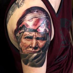 Indian ! #indian #indiantattoo #americanindian #tattoo #tattooart #portraittattoo #realism #AlanRamireztattooartist #colortattoo #ink