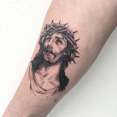 Jesus tattoo by Sourya #Sourya #Jesustattoo #JesusChristtattoo #religioustattoo #religious #Catholic #Christian #portraittattoo #crownofthorns #illustrative
