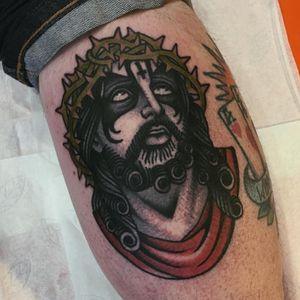 Black metal Jesus tattoo by Moira Ramone #MoireRamone #Jesustattoo #JesusChristtattoo #religioustattoo #religious #Catholic #Christian #portraittattoo #blackmetal #KingDiamond #crownofthorns #upsidedowncross